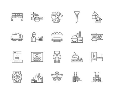 Icônes de ligne de fonderies, signes linéaires, ensemble de vecteurs, illustration de concept de contour Vecteurs