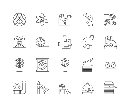 Funnel line icons, linear signs, vector set, outline concept illustration Illustration