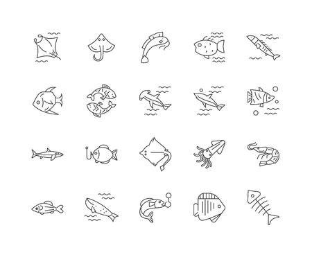 Icônes de ligne de poisson, signes linéaires, ensemble de vecteurs, illustration de concept de contour