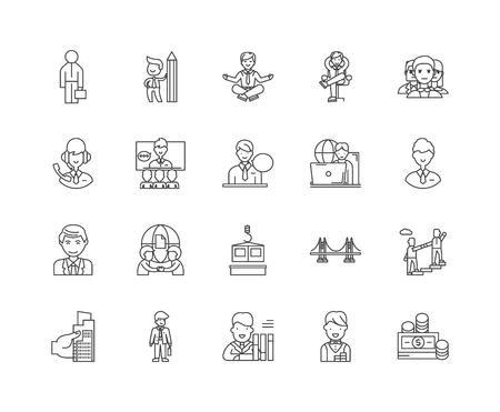 Allgemeine Bauunternehmer Liniensymbole, lineare Zeichen, Vektorsatz, Umrisskonzeptillustration Vektorgrafik