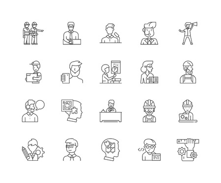General contractors line icons, linear signs, vector set, outline concept illustration