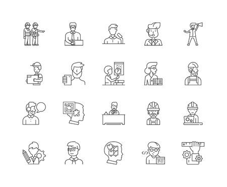 Generalunternehmer Liniensymbole, lineare Zeichen, Vektorsatz, Umrisskonzeptillustration concept