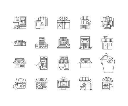 General store line icons, linear signs, vector set, outline concept illustration