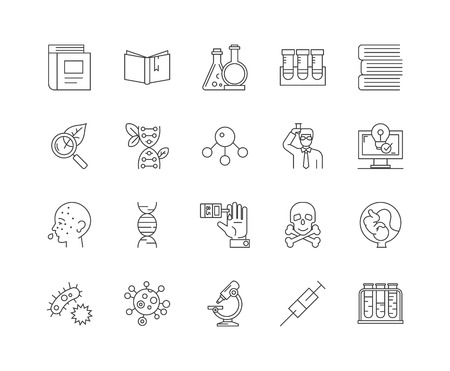 Genetic line icons, linear signs, vector set, outline concept illustration