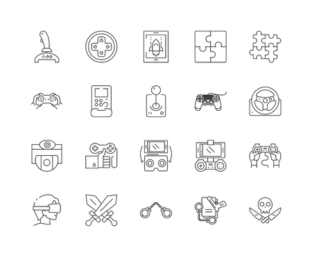Gaming equipment line icons, linear signs, vector set, outline concept illustration