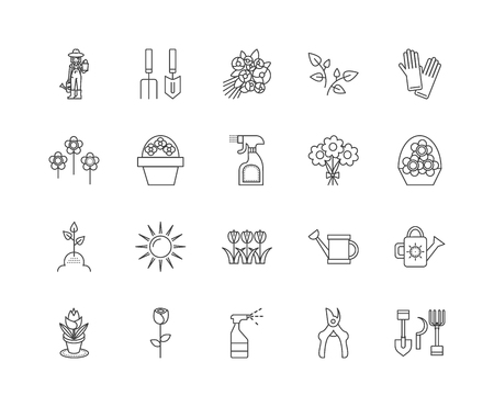 Floristry education line icons, linear signs, vector set, outline concept illustration