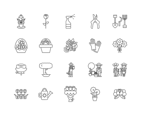 Flower workshop line icons, linear signs, vector set, outline concept illustration Ilustracja