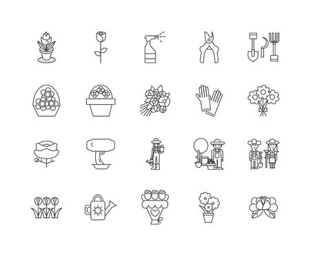 Icônes de ligne d'atelier de fleurs, signes linéaires, ensemble de vecteurs, illustration de concept de contour Vecteurs