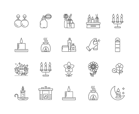 Fragrances and perfumes line icons, linear signs, vector set, outline concept illustration Illustration