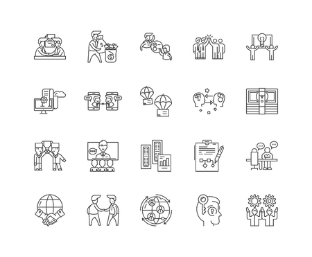 Franchise consultant line icons, linear signs, vector set, outline concept illustration Standard-Bild - 122418829