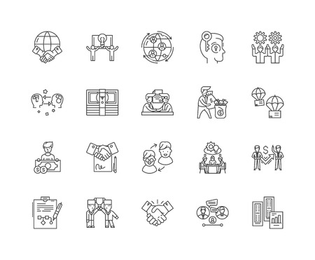 Franchising line icons, linear signs, vector set, outline concept illustration Illustration