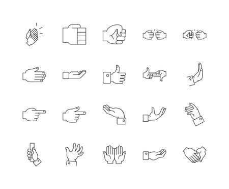 Gestures line icons, linear signs, vector set, outline concept illustration Illustration