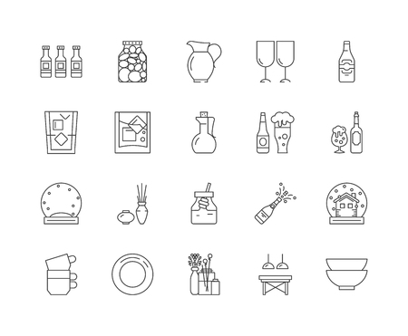 Glass and glassware line icons, linear signs, vector set, outline concept illustration Illustration