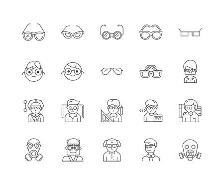 Glasses line icons, linear signs, vector set, outline concept illustration