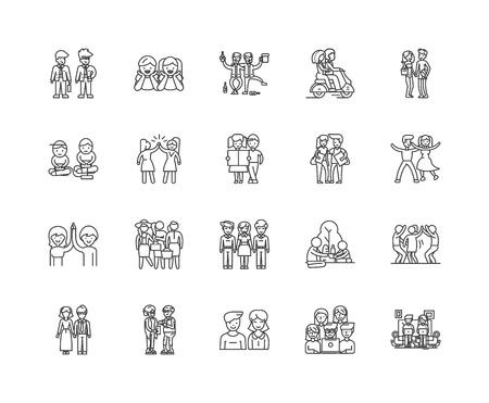 Friendship line icons, linear signs, vector set, outline concept illustration