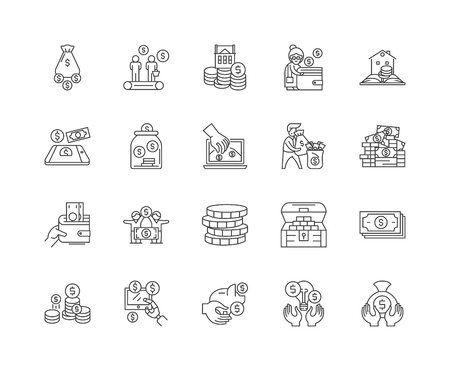 Fundraising line icons, linear signs, vector set, outline concept illustration