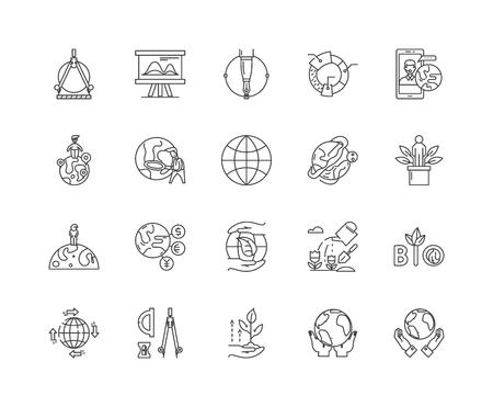 Iconos de línea de geodesia, signos lineales, conjunto de vectores, ilustración del concepto de esquema