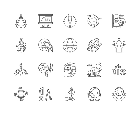 Geodesy line icons, linear signs, vector set, outline concept illustration Illustration