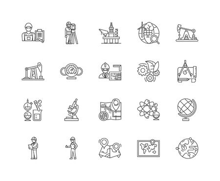 Geological services line icons, linear signs, vector set, outline concept illustration