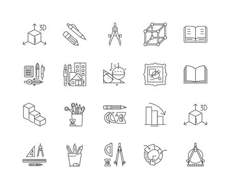 Iconos de línea de geometría, signos lineales, conjunto de vectores, ilustración del concepto de esquema