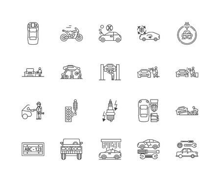 Garage services line icons, linear signs, vector set, outline concept illustration Illustration