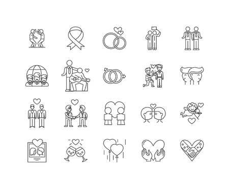 Gay line icons, linear signs, vector set, outline concept illustration