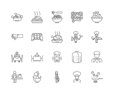 Gourmet line icons, linear signs, vector set, outline concept illustration