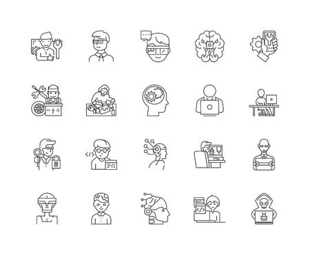 Geeks,nerds line icons, linear signs, vector set, outline concept illustration