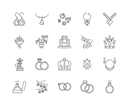 Gems and precious stones line icons, linear signs, vector set, outline concept illustration