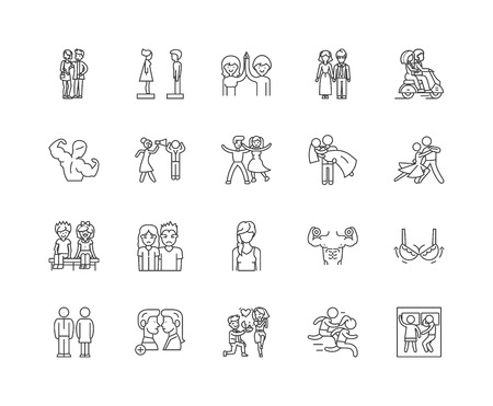 Gender male and female line icons, linear signs, vector set, outline concept illustration