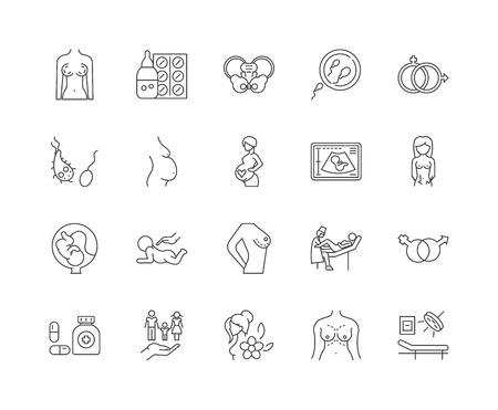 Icônes de ligne de génécologie, signes linéaires, ensemble de vecteurs, illustration de concept de contour