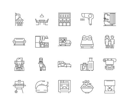 Guest hotel house line icons, linear signs, vector set, outline concept illustration Ilustrace