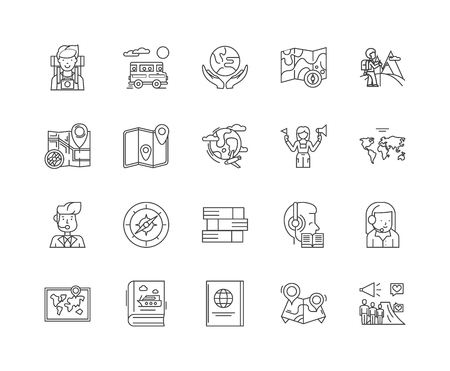 Guide line icons, linear signs, vector set, outline concept illustration