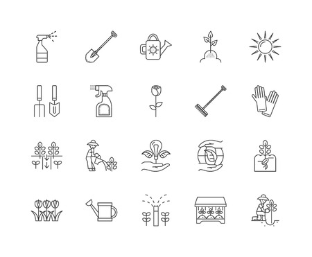Greenhouse line icons, linear signs, vector set, outline concept illustration