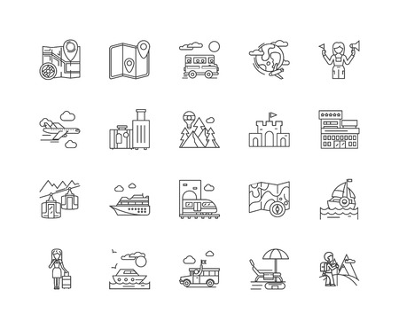 Guided tours line icons, linear signs, vector set, outline concept illustration