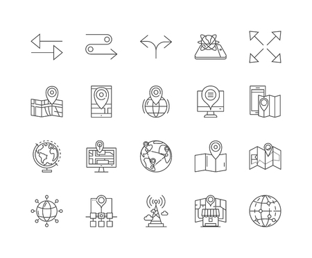 Gps navigation line icons, linear signs, vector set, outline concept illustration Vectores