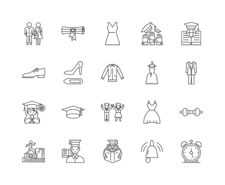 Graduation line icons, linear signs, vector set, outline concept illustration