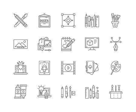 Graphics line icons, linear signs, vector set, outline concept illustration Vecteurs