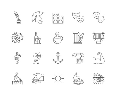 Greece line icons, linear signs, vector set, outline concept illustration