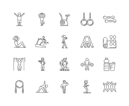 Gym line icons, linear signs, vector set, outline concept illustration