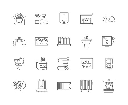 Heating line icons, linear signs, vector set, outline concept illustration