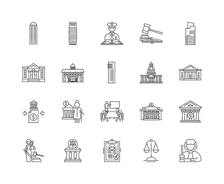 Government line icons, linear signs, vector set, outline concept illustration