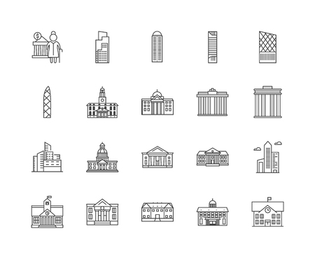Government building line icons, linear signs, vector set, outline concept illustration