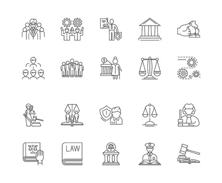 Government concept line icons, linear signs, vector set, outline concept illustration