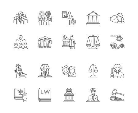 Icônes de ligne de concept de gouvernement, signes linéaires, ensemble de vecteurs, illustration de concept de contour Vecteurs