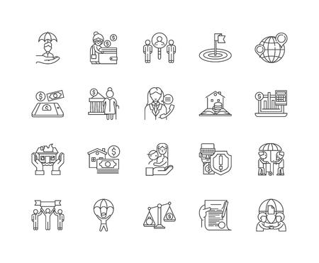 Liniensymbole für Regierungsdienste, lineare Zeichen, Vektorsatz, Umrisskonzeptillustration