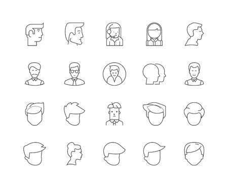 Head line icons, linear signs, vector set, outline concept illustration Иллюстрация