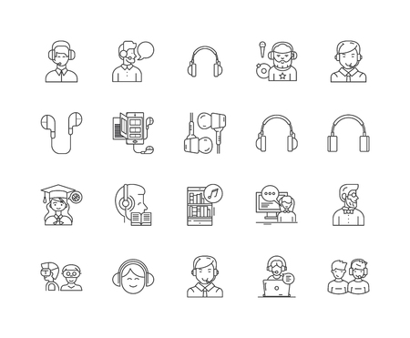 Headset line icons, linear signs, vector set, outline concept illustration