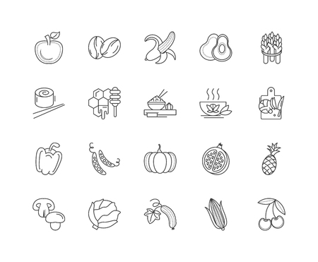 Health and nutrition line icons, linear signs, vector set, outline concept illustration