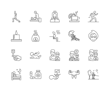 Health and therapy line icons, linear signs, vector set, outline concept illustration
